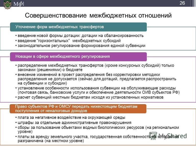 М ] ф Совершенствование межбюджетных отношений введение новой формы дотации: дотации на сбалансированность введение