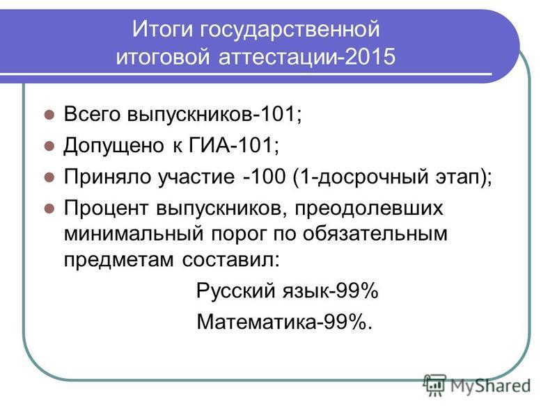 Всего выпусккников-101; Допущено к ГИА-101; Приняло участие -100 (1-досрочный этап); Процент выпусккников, преодолевших минимальный порог по обязательным предметам составил: Русский язык-99% Математика-99%.