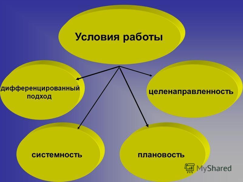 Условия работы целенаправленность системность дифференцированный подход плановость