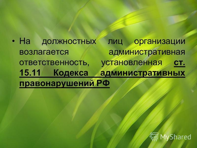 На должностных лиц организации возлагается административная ответственность, установленная ст. 15.11 Кодекса административных правонарушений РФ