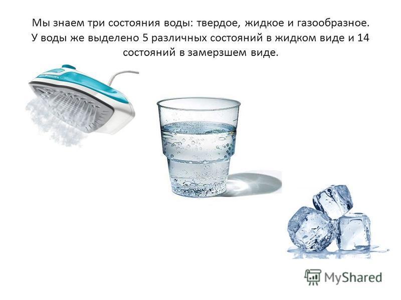 Мы знаем три состояния воды: твердое, жидкое и газообразное. У воды же выделено 5 различных состояний в жидком виде и 14 состояний в замерзшем виде.