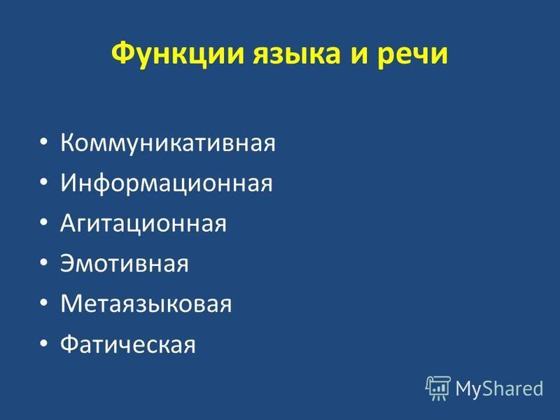 Функции языка и речи Коммуникативная Информационная Агитационная Эмотивная Метаязыковая Фатическая