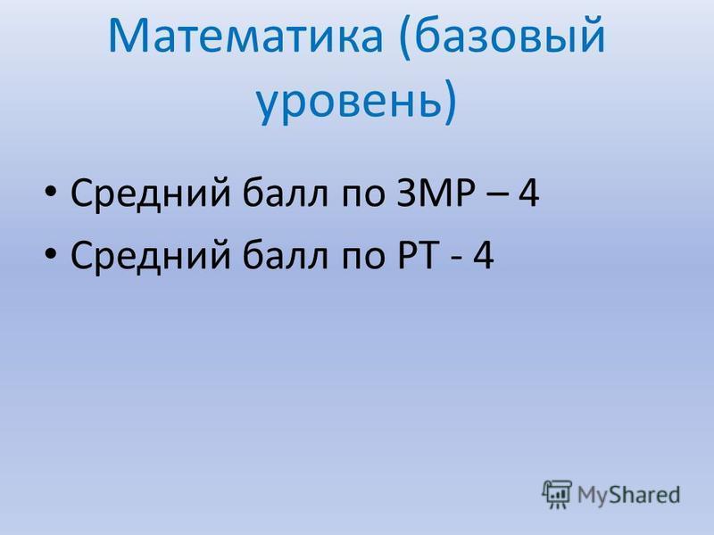 Математика (базовый уровень) Средний балл по ЗМР – 4 Средний балл по РТ - 4