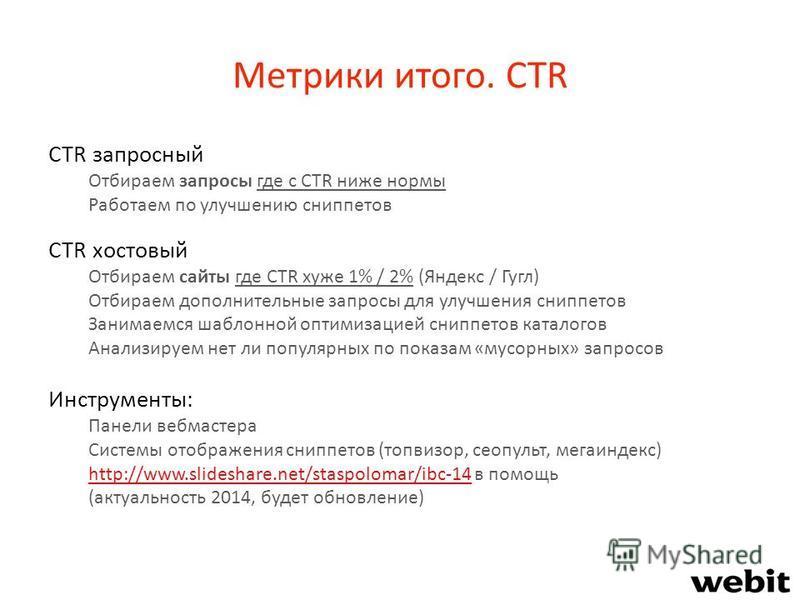 Метрики итого. CTR CTR запросный Отбираем запросы где с CTR ниже нормы Работаем по улучшению сниппетов CTR хостовый Отбираем сайты где CTR хуже 1% / 2% (Яндекс / Гугл) Отбираем дополнительные запросы для улучшения сниппетов Занимаемся шаблонной оптим