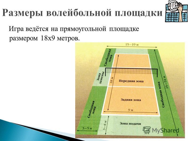 Игра ведётся на прямоугольной площадке размером 18 х 9 метров.