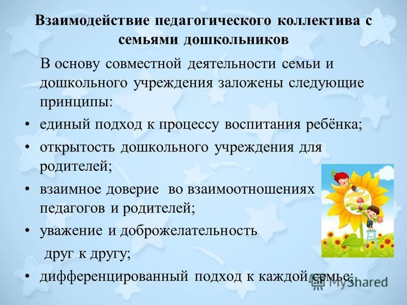 Взаимодействие педагогического коллектива с семьями дошкольников В основу совместной деятельности семьи и дошкольного учреждения заложены следующие принципы: единый подход к процессу воспитания ребёнка; открытость дошкольного учреждения для родителей