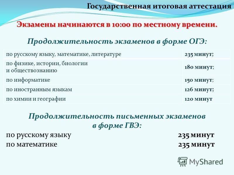 Экзамены начинаются в 10:00 по местному времени. Продолжительность экзаменов в форме ОГЭ: Продолжительность письменных экзаменов в форме ГВЭ: по русскому языку 235 минут по математике 235 минут Государственная итоговая аттестация по русскому языку, м