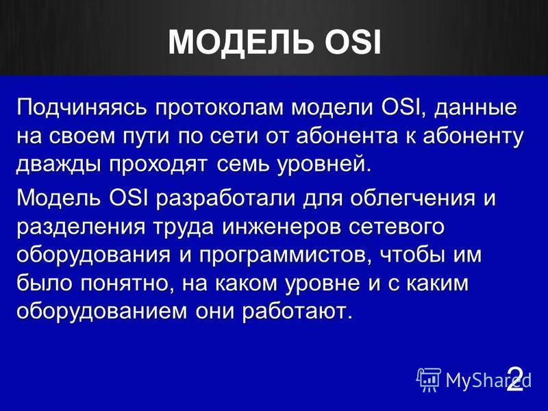 МОДЕЛЬ OSI Подчиняясь протоколам модели OSI, данные на своем пути по сети от абонента к абоненту дважды проходят семь уровней. Модель OSI разработали для облегчения и разделения труда инженеров сетевого оборудования и программистов, чтобы им было пон