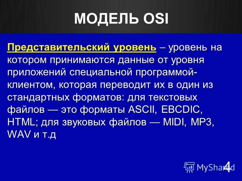 МОДЕЛЬ OSI Представительский уровень – уровень на котором принимаются данные от уровня приложений специальной программой- клиентом, которая переводит их в один из стандартных форматов: для текстовых файлов это форматы ASCII, EBCDIC, HTML; для звуковы
