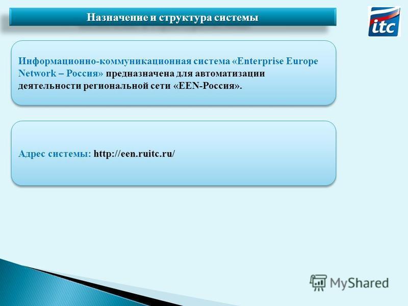 Назначение и структура системы Информационно-коммуникационная система «Enterprise Europe Network – Россия» предназначена для автоматизации деятельности региональной сети «EEN-Россия». Адрес системы: http://een.ruitc.ru/