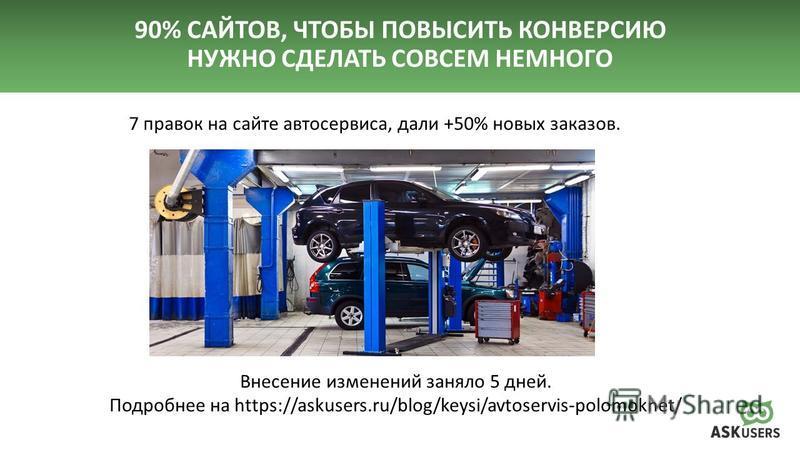 90% САЙТОВ, ЧТОБЫ ПОВЫСИТЬ КОНВЕРСИЮ НУЖНО СДЕЛАТЬ СОВСЕМ НЕМНОГО 7 правок на сайте автосервиса, дали +50% новых заказов. Внесение изменений заняло 5 дней. Подробнее на https://askusers.ru/blog/keysi/avtoservis-polomoknet/