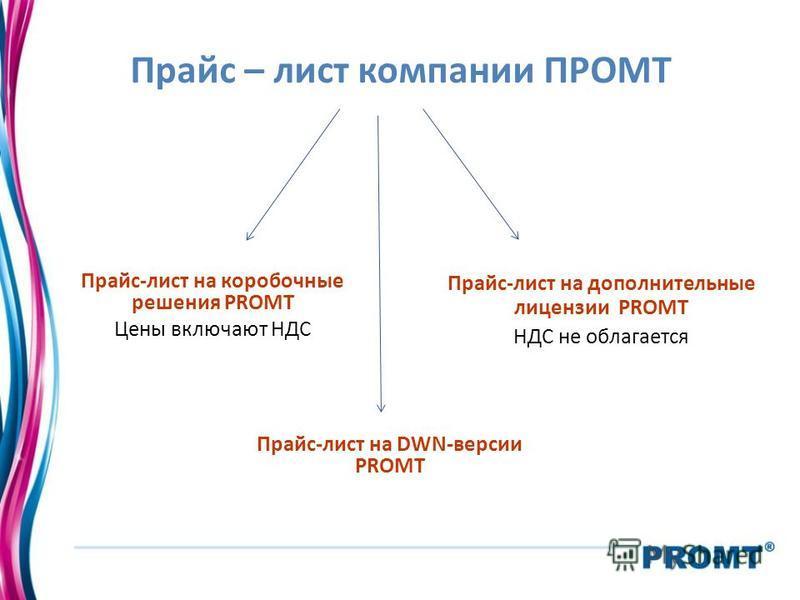 Прайс – лист компании ПРОМТ Прайс-лист на коробочные решения PROMT Цены включают НДС Прайс-лист на дополнительные лицензии PROMT НДС не облагается Прайс-лист на DWN-версии PROMT