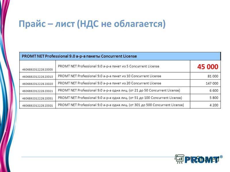 Прайс – лист (НДС не облагается) PROMT NET Professional 9.0 а-р-а пакеты Concurrent License 4606892012228 20005 PROMT NET Professional 9.0 а-р-а пакет из 5 Concurrent License 45 000 4606892012228 20010 PROMT NET Professional 9.0 а-р-а пакет из 10 Con
