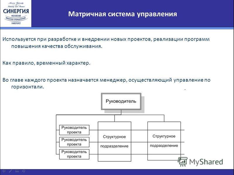 Матричная система управления Используется при разработке и внедрении новых проектов, реализации программ повышения качества обслуживания. Как правило, временный характер. Во главе каждого проекта назначается менеджер, осуществляющий управление по гор