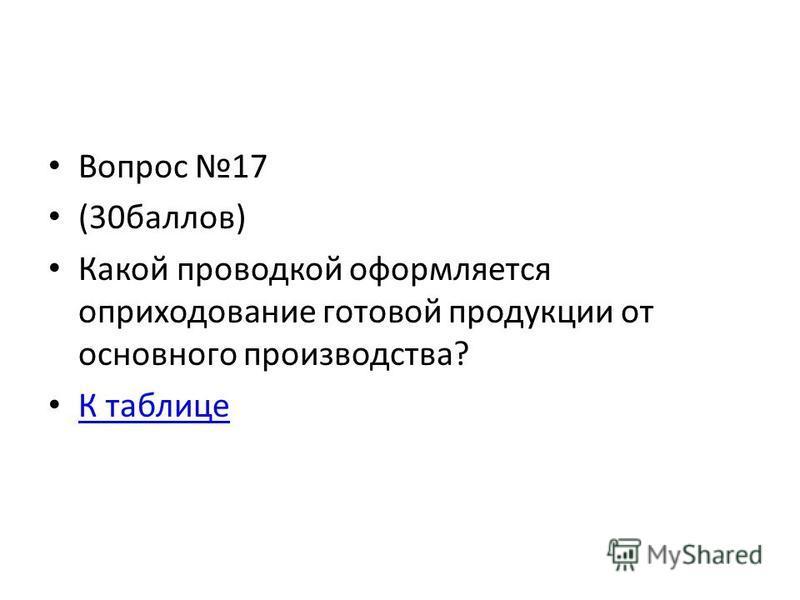 Вопрос 17 (30 баллов) Какой проводкой оформляется оприходование готовой продукции от основного производства? К таблице