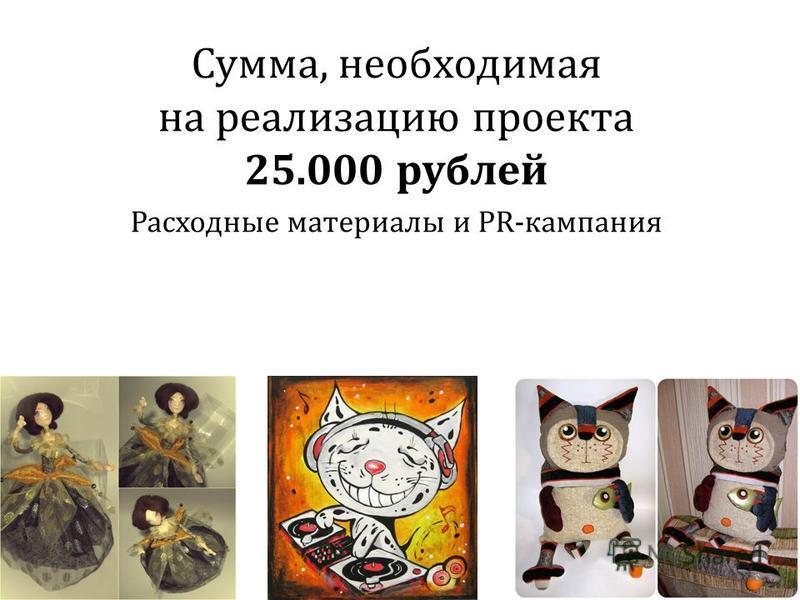 Сумма, необходимая на реализацию проекта 25.000 рублей Расходные материалы и PR-кампания