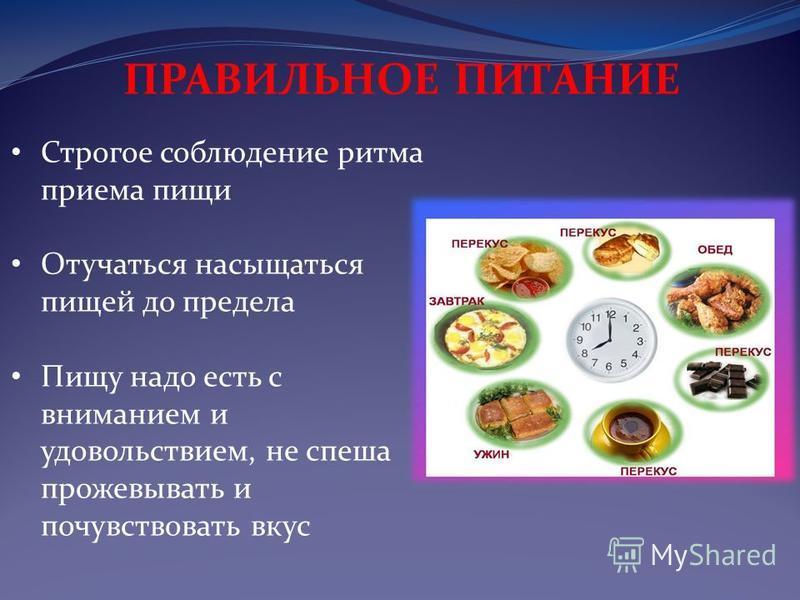 Строгое соблюдение ритма приема пищи Отучаться насыщаться пищей до предела Пищу надо есть с вниманием и удовольствием, не спеша прожевывать и почувствовать вкус ПРАВИЛЬНОЕ ПИТАНИЕ
