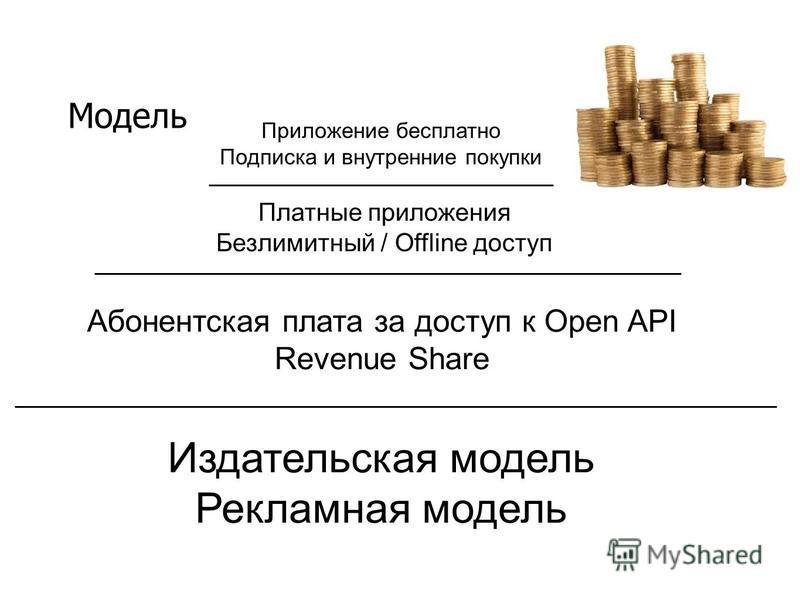 Модель Приложение бесплатно Подписка и внутренние покупки Платные приложения Безлимитный / Offline доступ Абонентская плата за доступ к Open API Revenue Share Издательская модель Рекламная модель