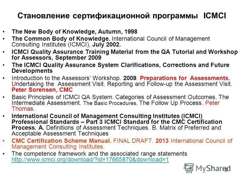 Становление сертификационной программы ICMCI The New Body of Knowledge, Autumn, 1998 The Common Body of Knowledge. International Council of Management Consulting Institutes (ICMCI), July 2002. ICMCI Quality Assurance Training Material from the QA Tut