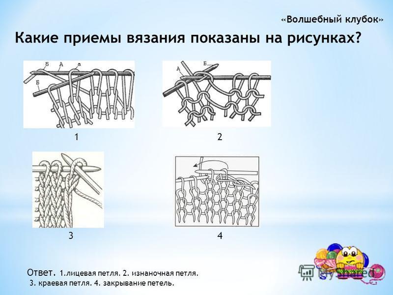 Какие приемы вязания показаны на рисунках? 1 2 3 4 Ответ. 1. лицевая петля. 2. изнаночная петля. 3. краевая петля. 4. закрывание петель.