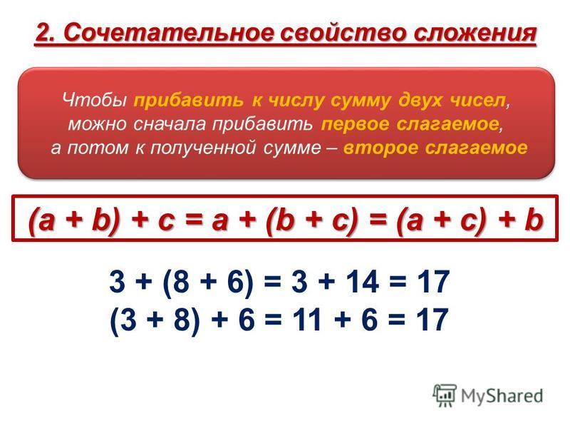 Чтобы прибавить к числу сумму двух чисел, можно сначала прибавить первое слагаемое, а потом к полученной сумме – второе слагаемое Чтобы прибавить к числу сумму двух чисел, можно сначала прибавить первое слагаемое, а потом к полученной сумме – второе