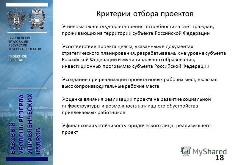 Критерии отбора проектов невозможность удовлетворения потребности за счет граждан, проживающих на территории субъекта Российской Федерации соответствие проекта целям, указанным в документах стратегического планирования, разрабатываемых на уровне субъ