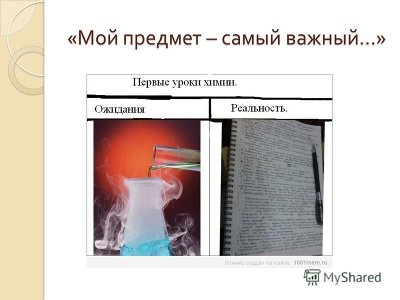 « Мой предмет – самый важный …»