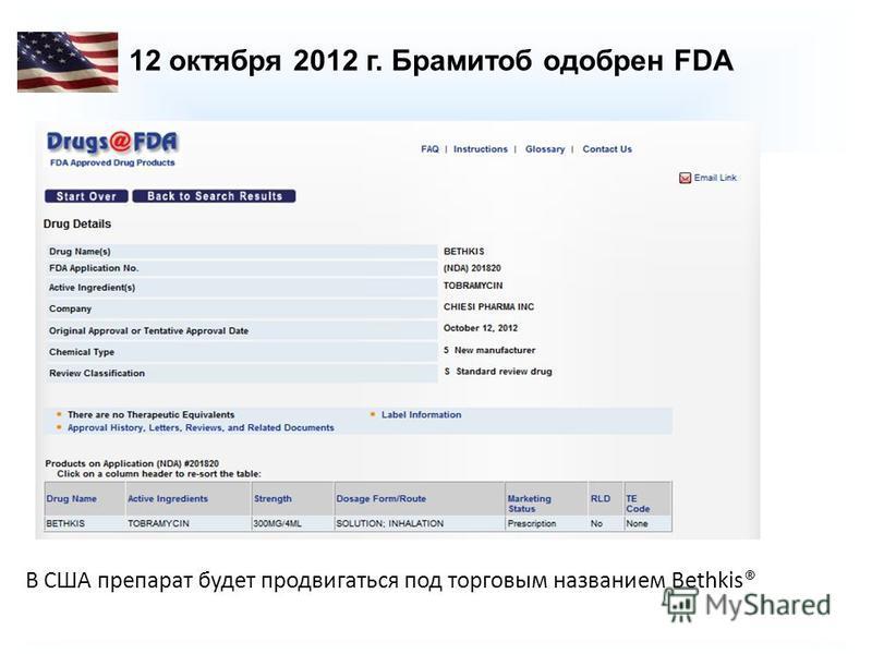 12 октября 2012 г. Брамитоб одобрен FDA В США препарат будет продвигаться под торговым названием Bethkis®