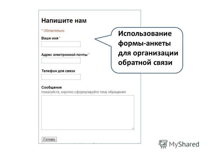 Использование формы-анкеты для организации обратной связи
