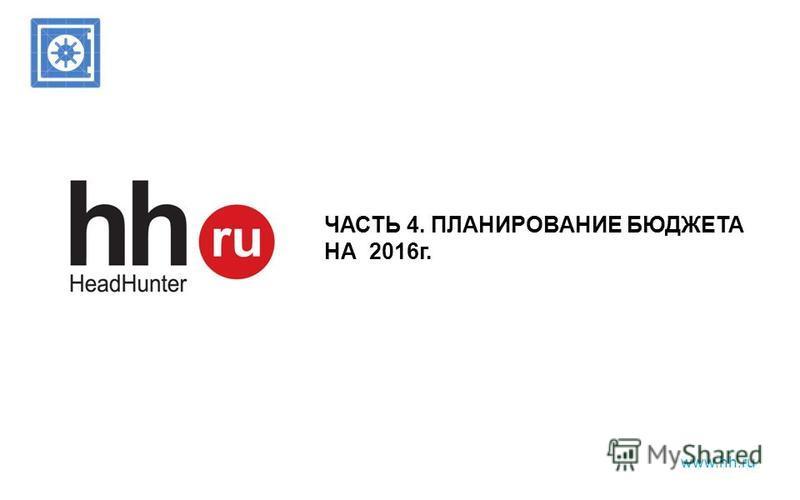 www.hh.ru ЧАСТЬ 4. ПЛАНИРОВАНИЕ БЮДЖЕТА НА 2016 г.