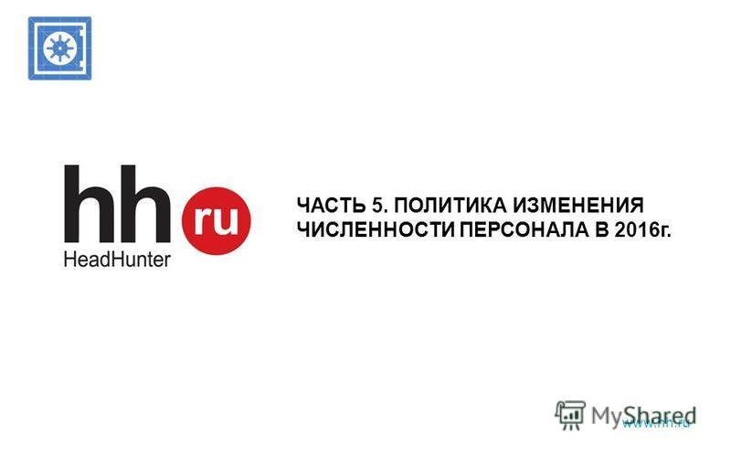www.hh.ru ЧАСТЬ 5. ПОЛИТИКА ИЗМЕНЕНИЯ ЧИСЛЕННОСТИ ПЕРСОНАЛА В 2016 г.