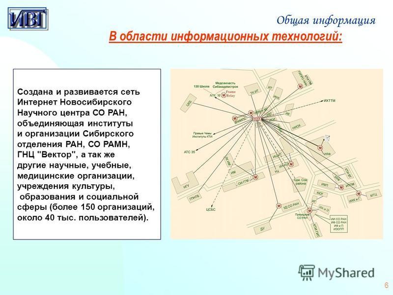 6 Создана и развивается сеть Интернет Новосибирского Научного центра СО РАН, объединяющая институты и организации Сибирского отделения РАН, СО РАМН, ГНЦ