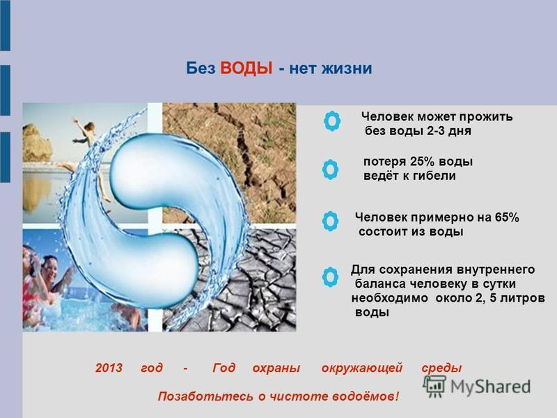 Без ВОДЫ - нет жизни Человек может прожить без воды 2-3 дня 2013 год - Год охраны окружающей среды Позаботьтесь о чистоте водоёмов! Человек примерно на 65% состоит из воды Для сохранения внутреннего баланса человеку в сутки необходимо около 2, 5 литр
