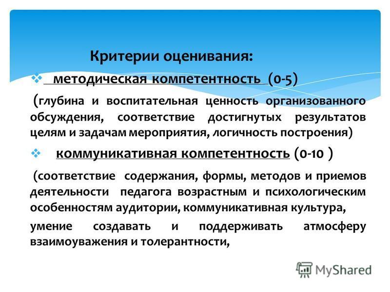 Критерии оценивания: методическая компетентность (0-5) ( глубина и воспитательная ценность организованного обсуждения, соответствие достигнутых результатов целям и задачам мероприятия, логичность построения) коммуникативная компетентность (0-10 ) (со