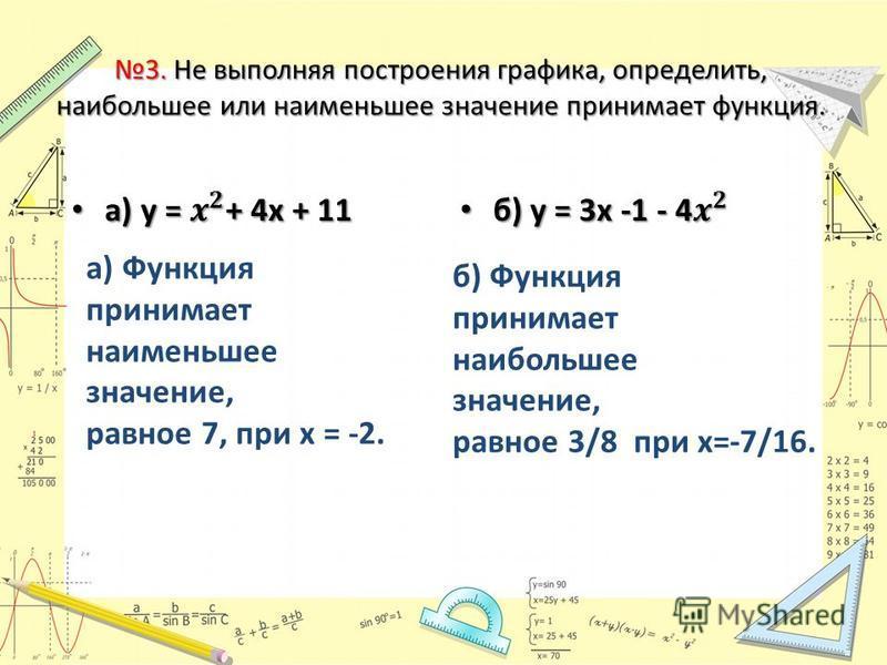 3. Не выполняя построения графика, определить, наибольшее или наименьшее значение принимает функция. а) Функция принимает наименьшее значение, равное 7, при х = -2. б) Функция принимает наибольшее значение, равное 3/8 при х=-7/16.