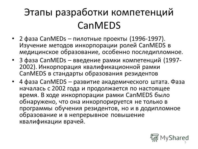 Этапы разработки компетенций CanMEDS 2 фаза CanMEDs – пилотные проекты (1996-1997). Изучение методов инкорпорации ролей CanMEDS в медицинское образование, особенно последипломное. 3 фаза CanMEDs – введение рамки компетенций (1997- 2002). Инкорпорация