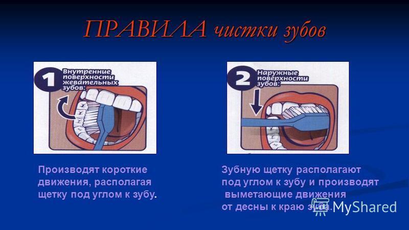 ПРАВИЛА чистки зубов Производят короткие движения, располагая щетку под углом к зубу. Зубную щетку располагают под углом к зубу и производят выметающие движения от десны к краю зуба.