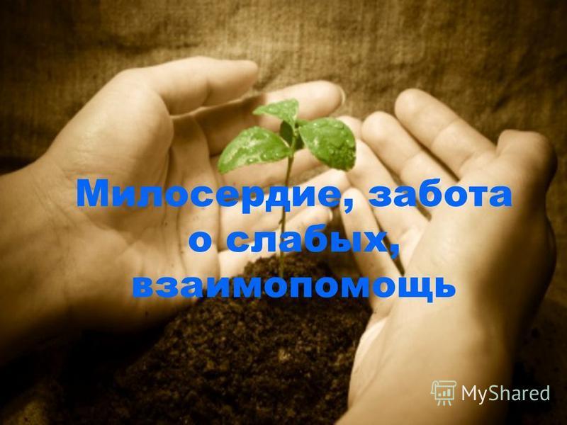 Милосердие, забота о слабых, взаимопомощь