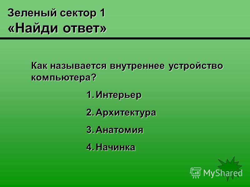 Зеленый сектор 1 «Найди ответ» Как называется внутреннее устройство компьютера? 1. Интерьер 2. Архитектура 3. Анатомия 4.Начинка