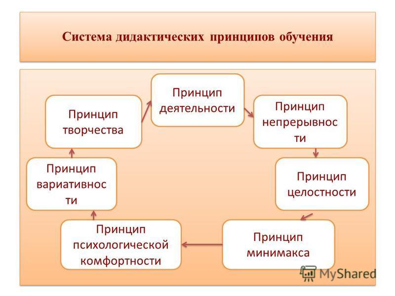 Система дидактических принципов обучения Принцип деятельности Принцип непрерывности Принцип целостности Принцип минимакса Принцип творчества Принцип вариативности Принцип психологической комфортности
