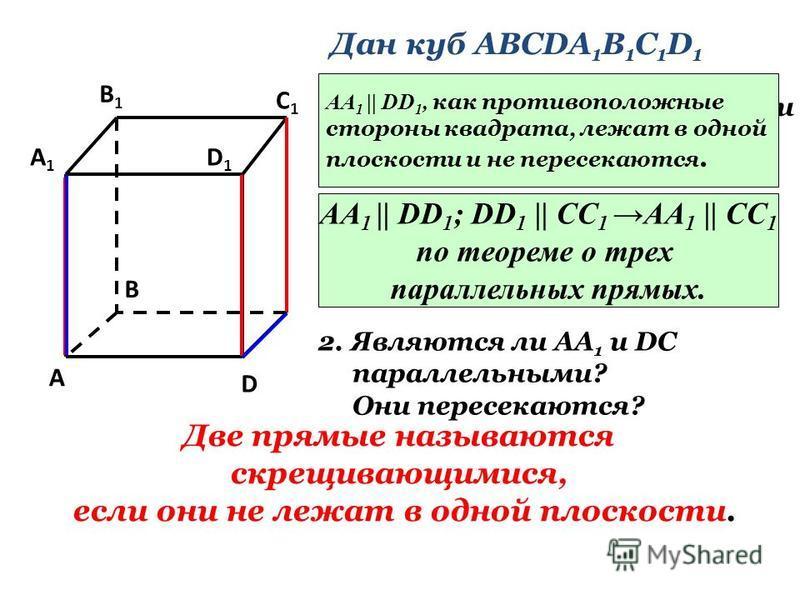 A1A1 B1B1 D1D1 A B D C1C1 Дан куб АВСDA 1 B 1 C 1 D 1 1. Являются ли параллельными прямые АА 1 и DD 1 ; АА 1 и СС 1 ? Почему? АА 1    DD 1, как противоположные стороны квадрата, лежат в одной плоскости и не пересекаются. АА 1    DD 1 ; DD 1    CC 1 A