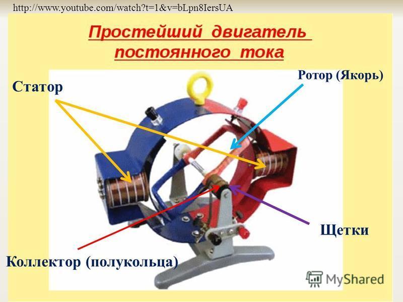 Ротор (Якорь) Статор Щетки http://www.youtube.com/watch?t=1&v=bLpn8IersUA Коллектор (полукольца)