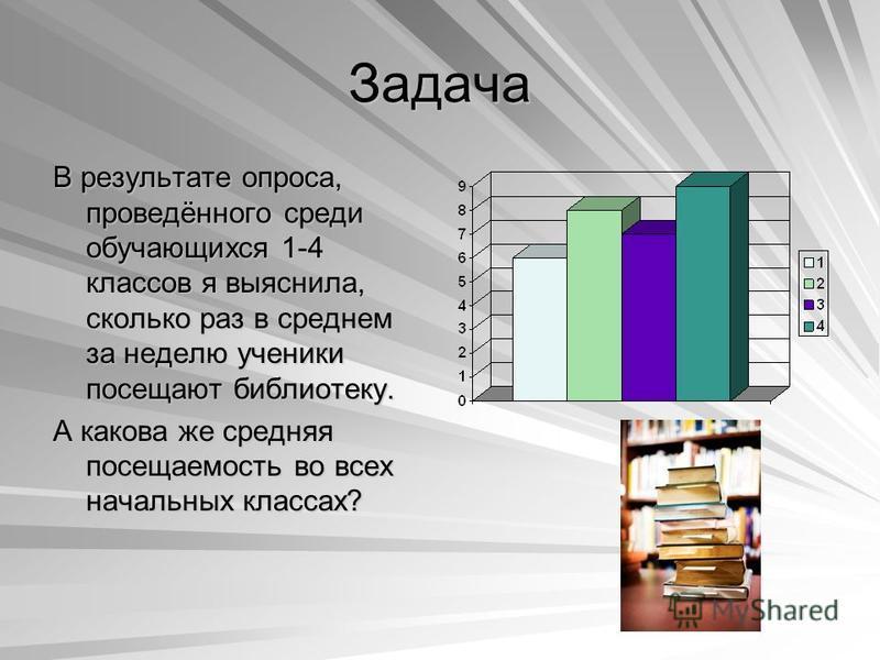 Задача В результате опроса, проведённого среди обучающихся 1-4 классов я выяснила, сколько раз в среднем за неделю ученики посещают библиотеку. А какова же средняя посещаемость во всех начальных классах?