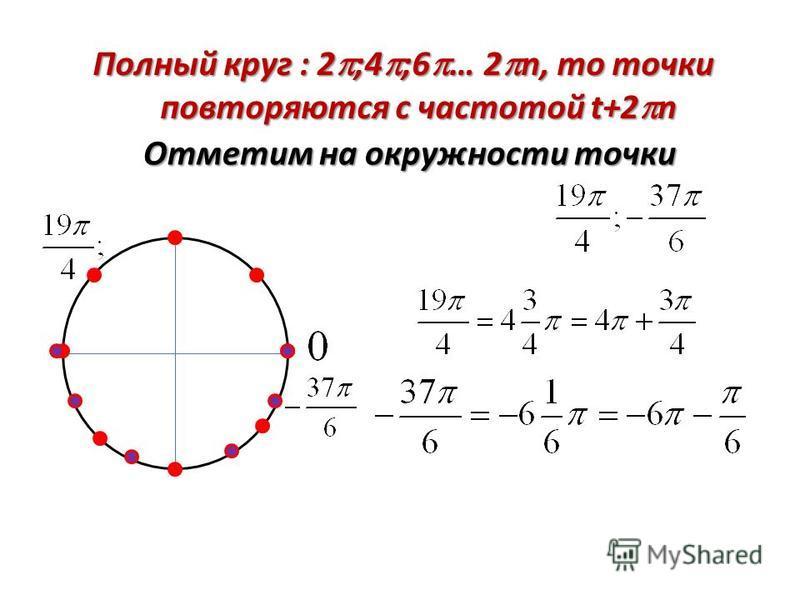 Полный круг : 2;4;6… 2n, то точки повторяются с частотой t+2n
