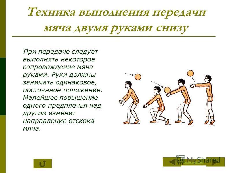 Техника выполнения передачи мяча двумя руками снизу При передаче следует выполнять некоторое сопровождение мяча руками. Руки должны занимать одинаковое, постоянное положение. Малейшее повышение одного предплечья над другим изменит направление отскока