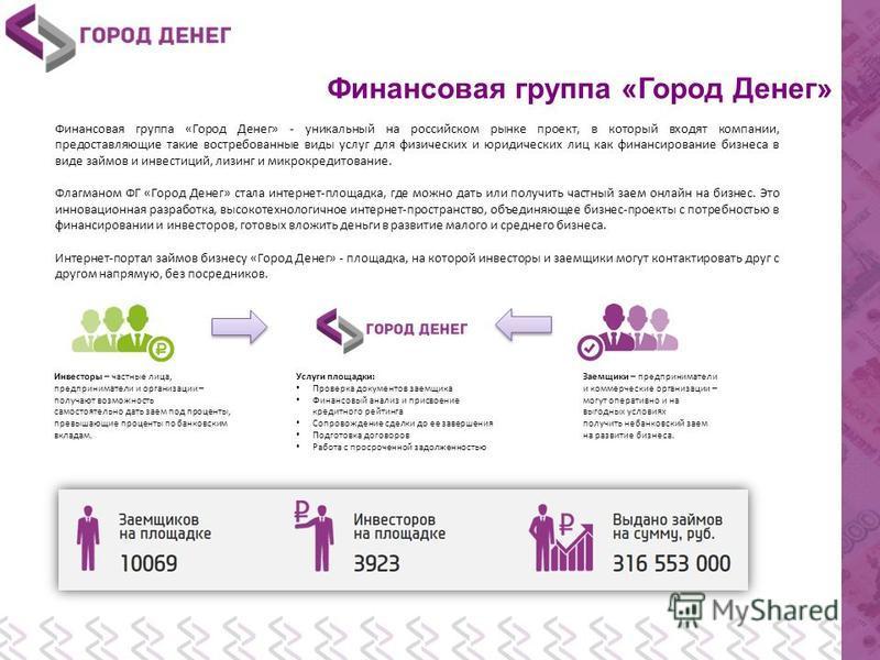 Финансовая группа «Город Денег» Финансовая группа «Город Денег» - уникальный на российском рынке проект, в который входят компании, предоставляющие такие востребованные виды услуг для физических и юридических лиц как финансирование бизнеса в виде зай