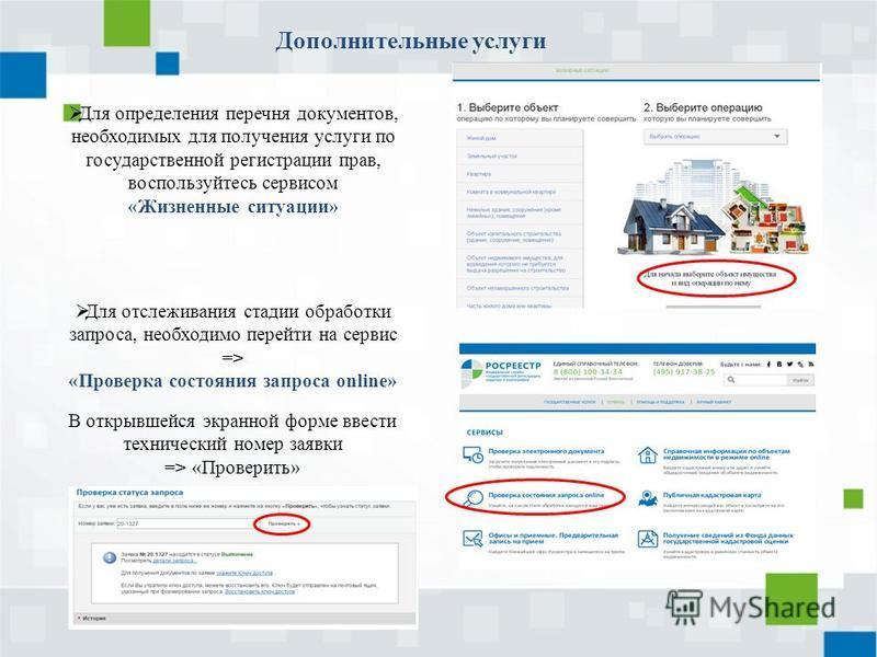 Дополнительные услуги Для отслеживания стадии обработки запроса, необходимо перейти на сервис => «Проверка состояния запроса online» В открывшейся экранной форме ввести технический номер заявки => «Проверить» Для определения перечня документов, необх