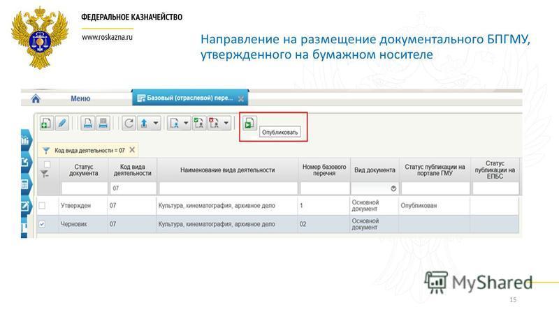 15 Направление на размещение документального БПГМУ, утвержденного на бумажном носителе