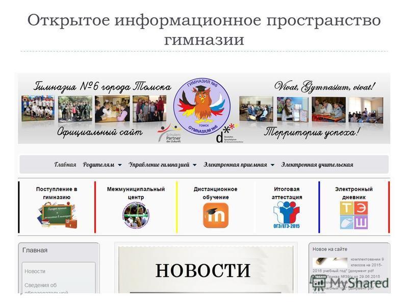 Открытое информационное пространство гимназии