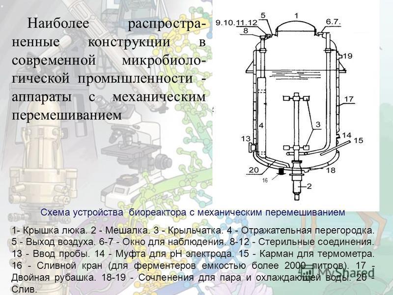 16 Схема устройства биореактора с механическим перемешиванием 1- Крышка люка. 2 - Мешалка. 3 - Крыльчатка. 4 - Отражательная перегородка. 5 - Выход воздуха. 6-7 - Окно для наблюдения. 8-12 - Стерильные соединения. 13 - Ввод пробы. 14 - Муфта для рН э